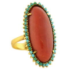 Victorian Elongated Oxblood Coral Turquoise Ring