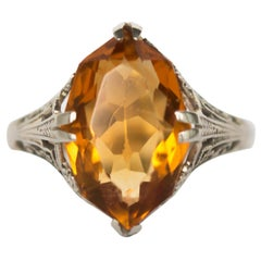 4.00 Carat Citrine White Gold Engagement Ring