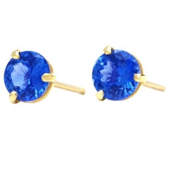 Sapphire Set Gold Stud Earrings