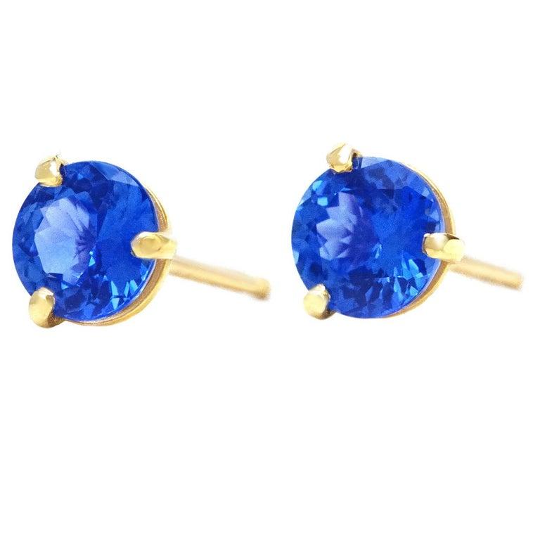Sapphire Set Gold Stud Earrings