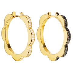 Cadar Triplet Hoop Earrings, 18 Karat Gold and Black and White Diamonds, Medium