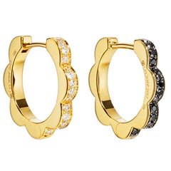 Cadar Triplet Hoop Earrings, 18 Karat Gold and Black and White Diamonds, Small