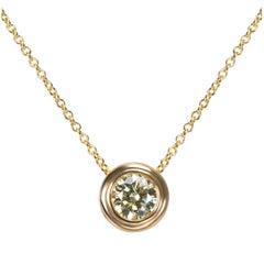 Bezel Set Diamond Solitaire Pendant in 14 Karat Yellow Gold 1.00 Carat
