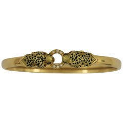 Petite French Double Headed Gold Leopard Bangle with Diamonds and Rubies