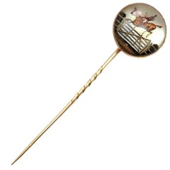 Victorian Essex Crystal Reverse Intaglio Horse Yellow Gold Stick Pin