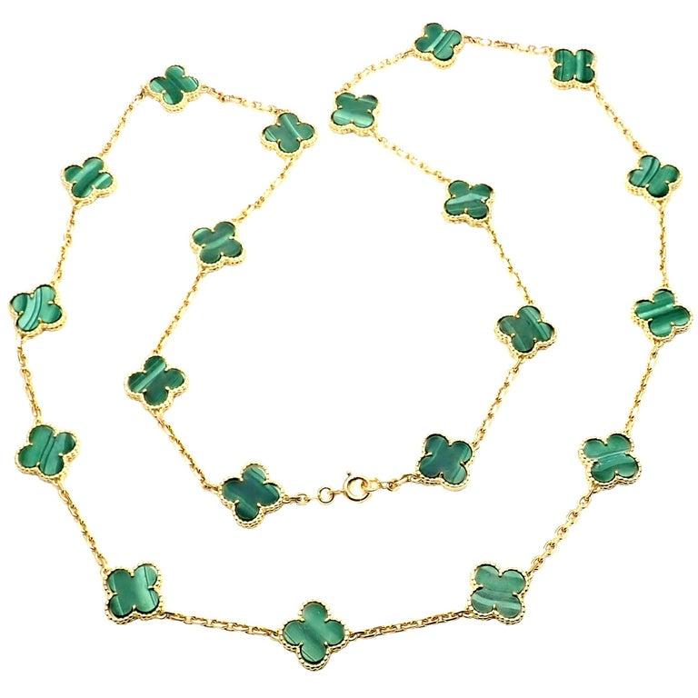 Van Cleef & Arpels Vintage Alhambra Malachite 20 Motif Gold Necklace