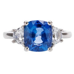 4.15 Carat Unheated Ceylon Sapphire and Diamond Platinum Engagement Ring