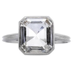 Modern 1.57 Carat Emerald Cut Diamond Platinum Engagement Ring