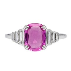Art Deco 1.28 Carat Unheated Burma Pink Sapphire and Diamond Engagement Ring