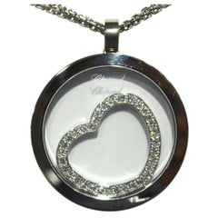 Chopard 18 Karat Happy Spirit Diamond Floating Heart Pendant Necklace