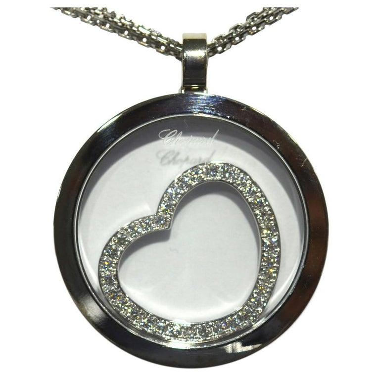 Chopard 18 Karat Happy Spirit Diamond Floating Heart Pendant Necklace