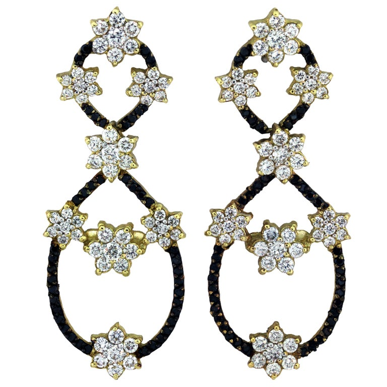 Stambolian Black and White Diamond White Yellow Gold Floral Drop Earrings