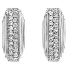 Diamond Huggie Earrings 18 Karat White Gold 0.68 Carat