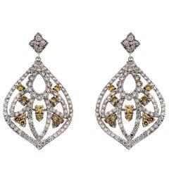 Stambolian Yellow and White Diamond Drop Earrings
