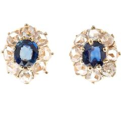 Sapphire Rose Cut Diamond Halo Gold Earrings