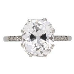 GIA Report 3.58 Carat Golconda Cushion Shaped Old Mine Diamond Ring
