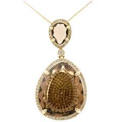 Smoky Quartz Micro Pave Diamond Gold Pendant Necklace