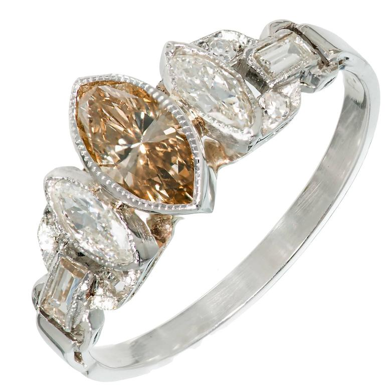 GIA Certified Brown Yellow Marquise Diamond Art Deco Platinum Engagement Ring
