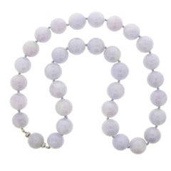 Natural Lavender Jadeite Jade Bead Necklace with Diamond Clasp