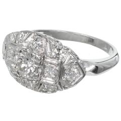 Art Deco Diamond Old European Mixed Cut Platinum Engagement Ring