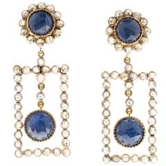 Framed Sapphire Diamond Silver Gold Dangle Earrings