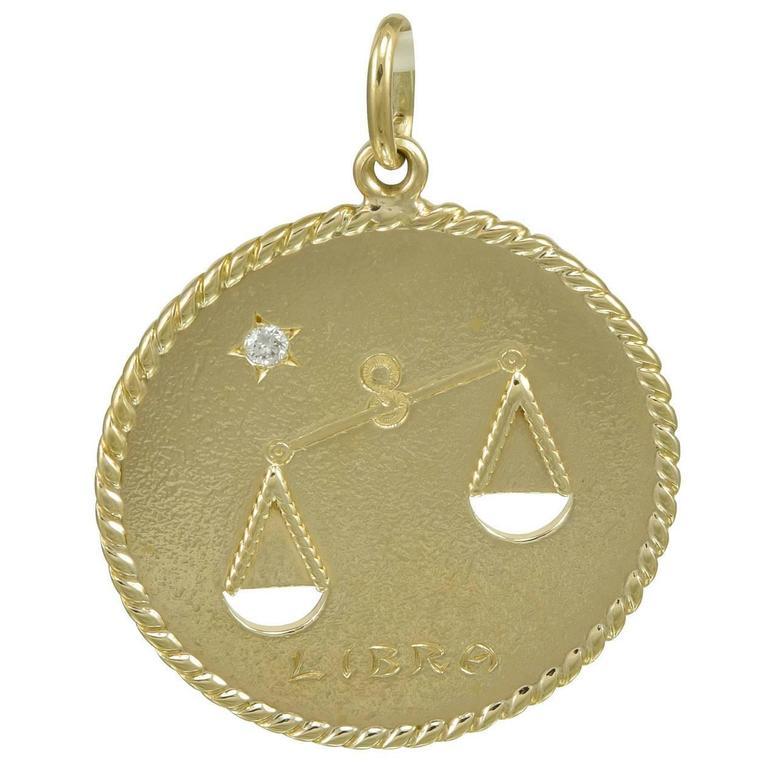 """1940s Cartier Large """"Libra"""" Gold Pendant/Charm"""
