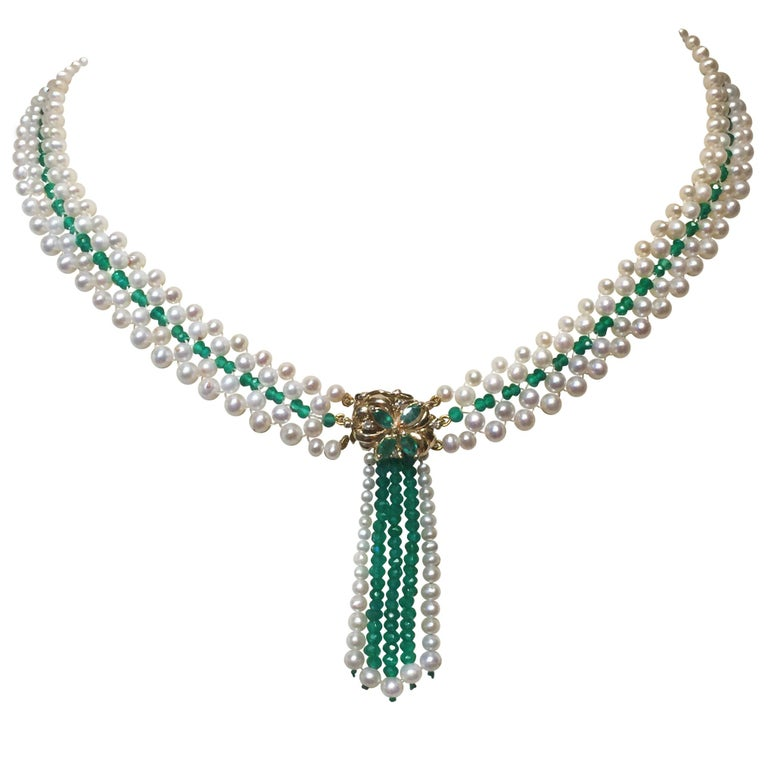 Woven Pearl, Emerald, and 14 k Yellow Gold Beaded Necklace with Front Clasp