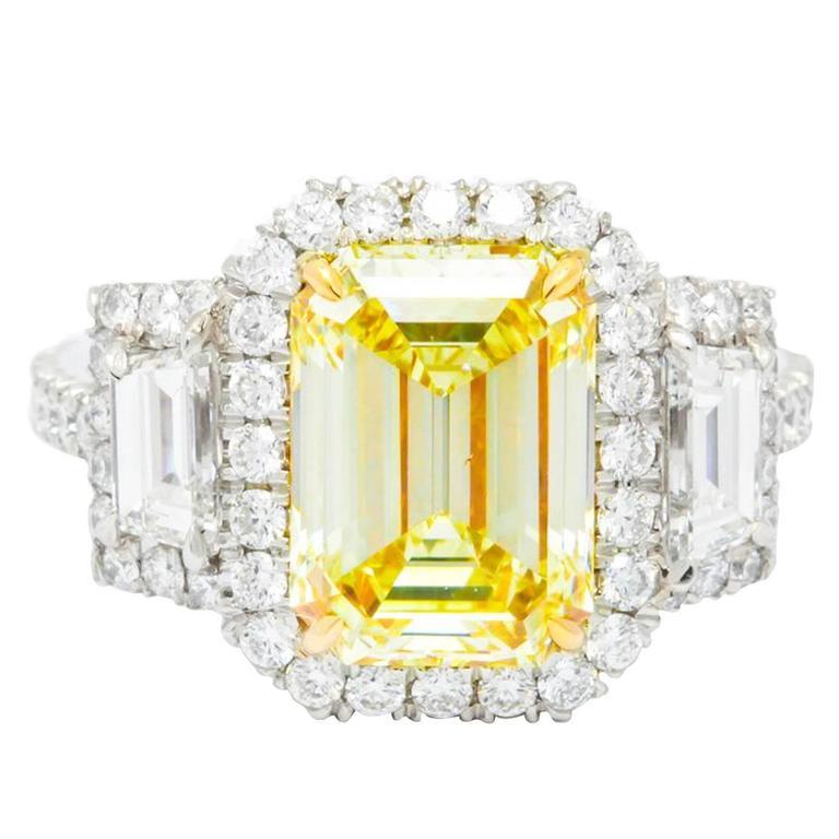 3.36 Carat Fancy Yellow Diamond Platinum Ring For Sale
