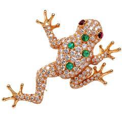 Oscar Heyman Diamond Gold Frog Pin Brooch