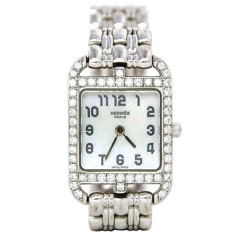 Hermes Lady's 18k White Gold & Diamond Cape Cod PM Wristwatch 1