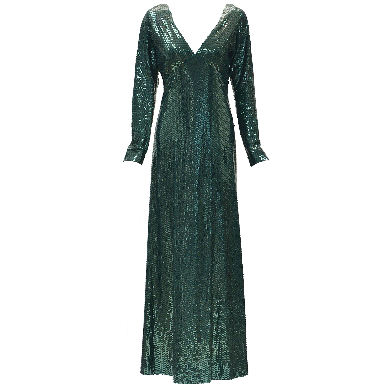 1960s Kiki Hart Green Sequin Evening Dress