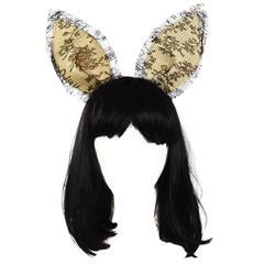 Maison Michel Black Lace 'Heidi' Bunny Ear Headband