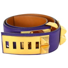 Hermes New Iris Purple Leather Collier De Chien CDC Belt With Gold Hardware, Box