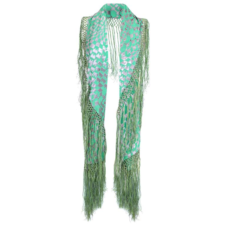 1920s Green and Silver Burn Out Velvet Shawl 1