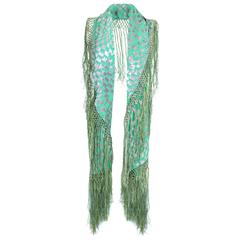 1920s Green and Silver Burn Out Velvet Shawl