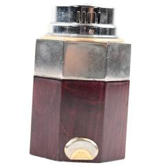 GUCCI Italian VINTAGE Brown Wood & Metal TABLE LIGHTER Octagon Shape