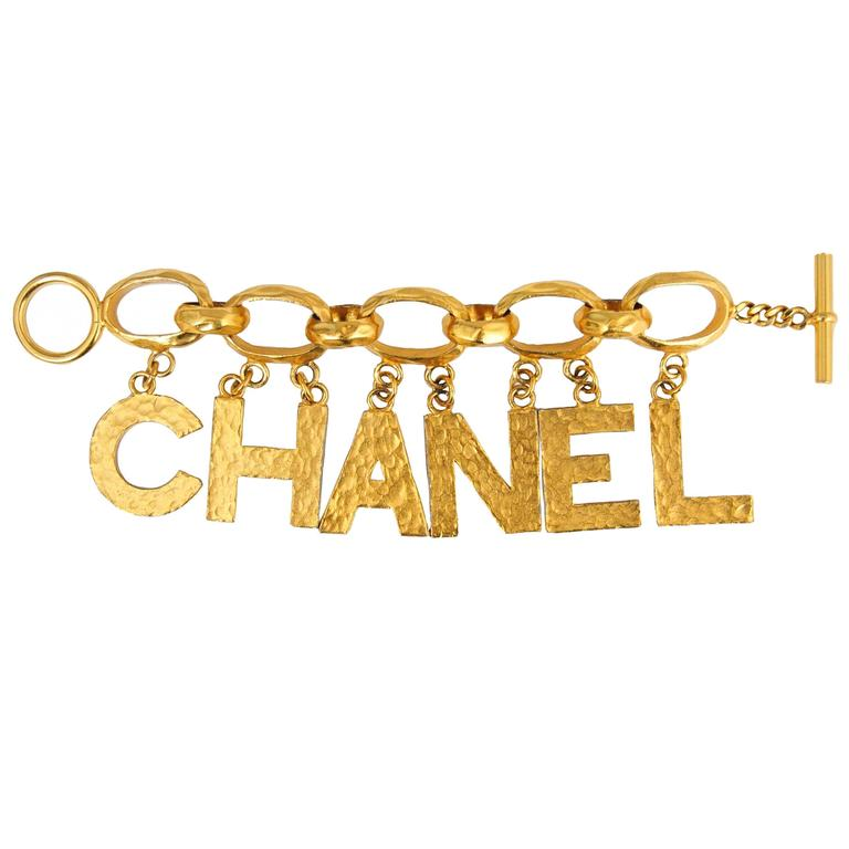 chanel letter charm bracelet at 1stdibs