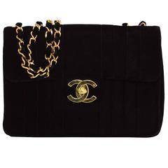 Chanel Vintage '90s Black Velvet Jumbo Flap Bag GHW