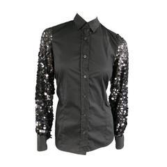 DRIES VAN NOTEN Size 8 Black Cotton / Silk Payette Sequin Sleeves Blouse