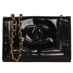 Chanel Vintage '80s Black Patent Mini CC Flap Bag GHW
