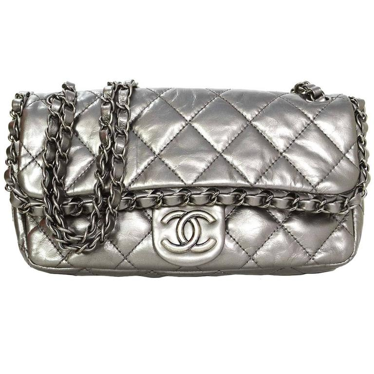 c772663bed4aa8 Chanel Metallic Distressed Chain Around Flap Bag SHW at 1stdibs