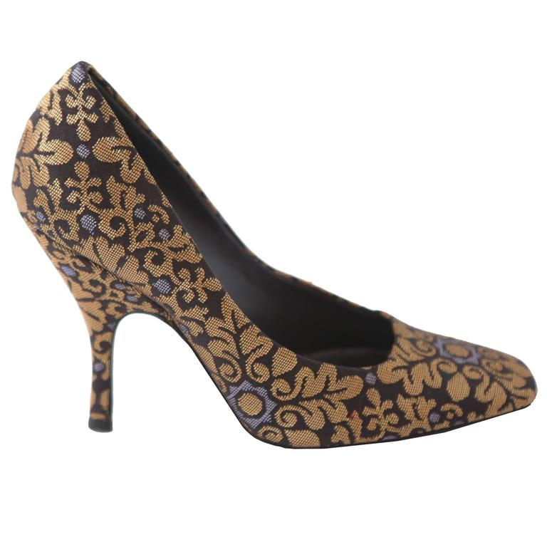 YSL Gold & Brown Brocade Heeled Pumps  For Sale