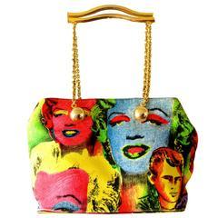 Original Versace Couture Warhol Bag Pop Art Marilyn Monroe James Dean Rare 90s