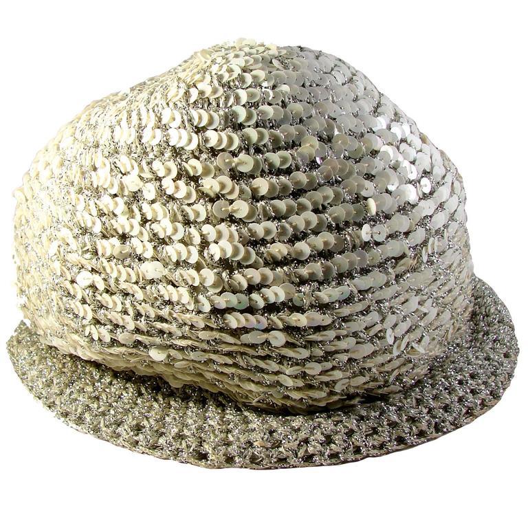 70s Halston Sequins Cap Hat White Silver Metallic Adjustable Saks Sz S/M