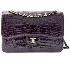 Rare Chanel  Amethyst Crocodile Jumbo Double Flap Bag