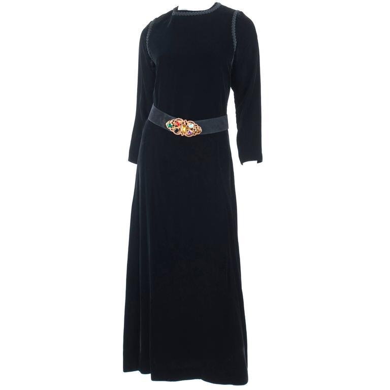 70's Yves Saint Laurent Velvet Dress with Belt 1
