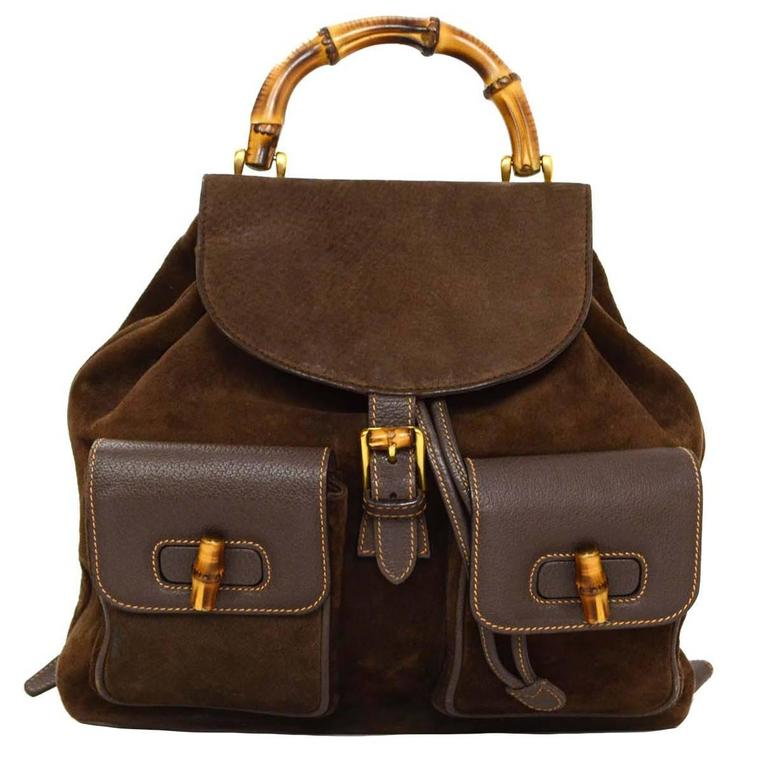 Gucci Brown Leather Suede Vintage Backpack Ghw For Sale
