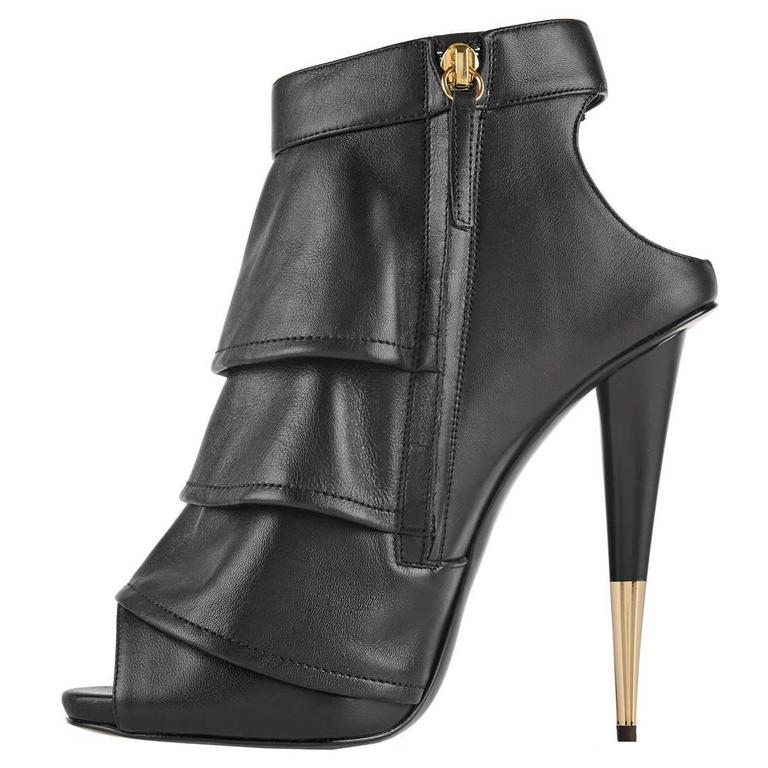 Giuseppe Zanotti Brand New Black Leather Ruffle Gold Stiletto Heels Ankle Bootie 1