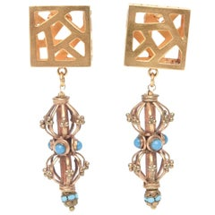 Pair of Sculptural Signed Cage and Square Dangle Earrings