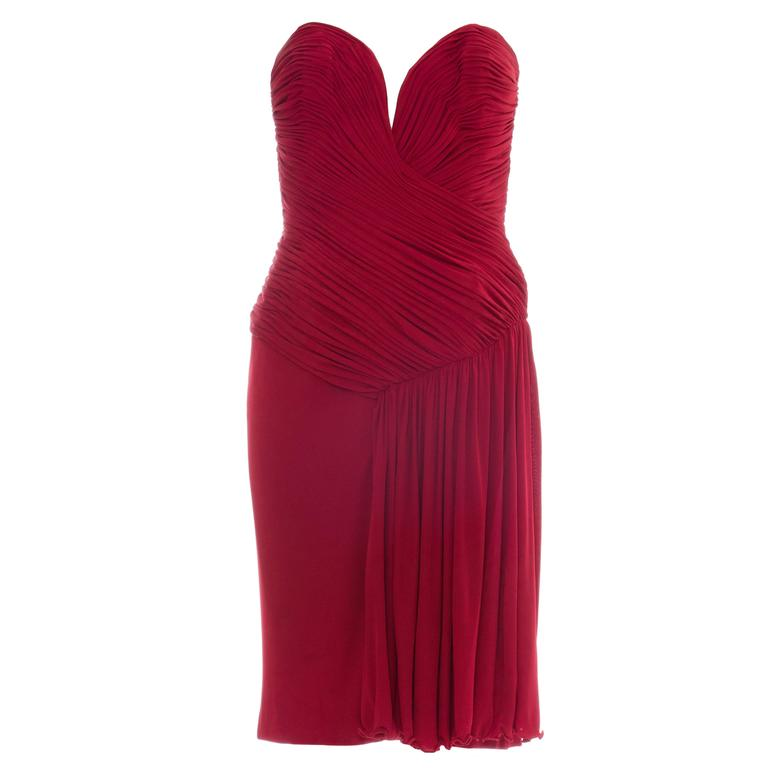 Vicky Tiel Couture Red Strapless Dress With Ruched Bodice, Circa 1980's